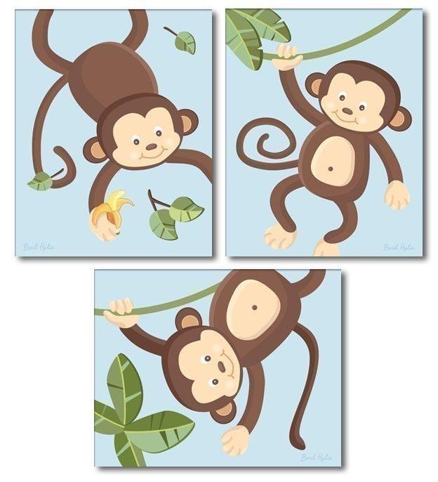 Set of 3 Blue Jungle Monkey Monkeys Nursery Art by smileywalls, $18.90