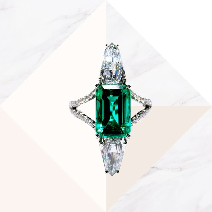 Emerald & diamond emerald cut ring in platinum, price upon request, Bayco