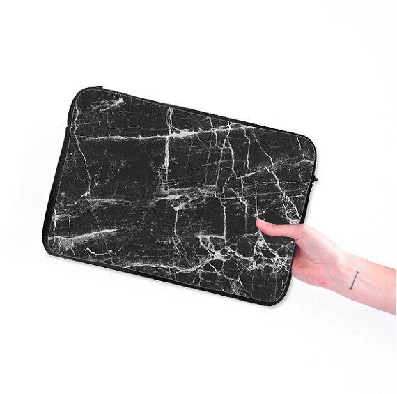 Zwart marmer macbook mouwen macbook hoezen uit door GisoloShop