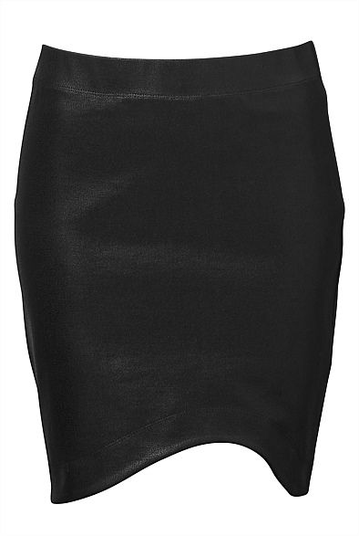 Curve Hem Coated Skirt