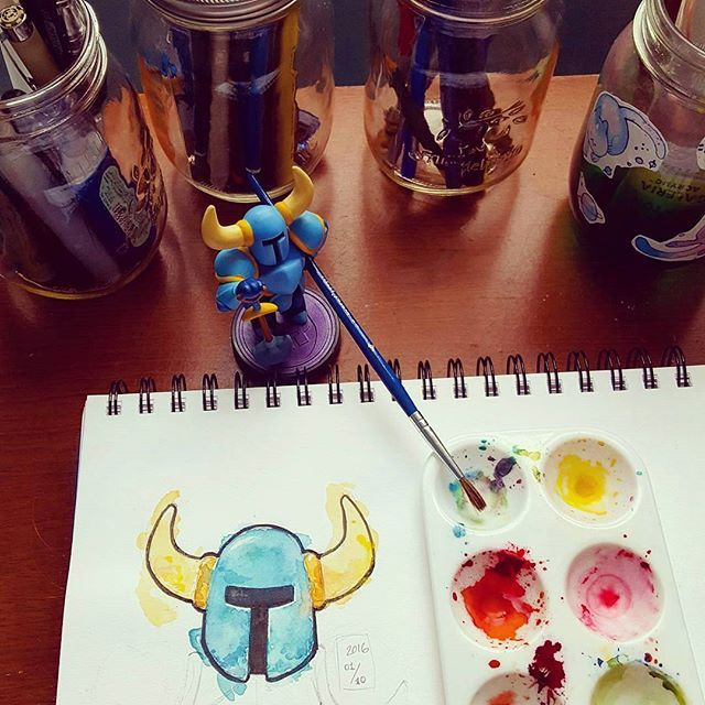 Self portrait - What an amazing game - #shovelknight #amiibo #watercolor #watercolour #selfportrait #micronpen #awesome #amazing #videogames #fanart