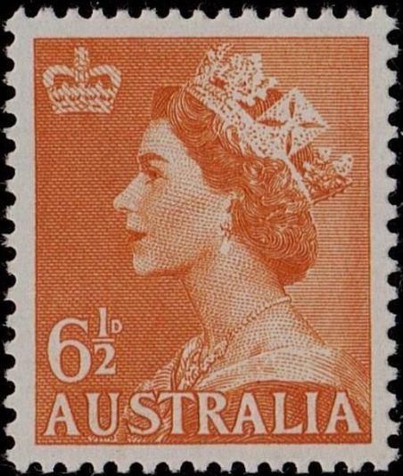 ACSC 299) 1956. Queen Elizabeth II. 6½d. Perforation 15 x 14. No watermark. Orange