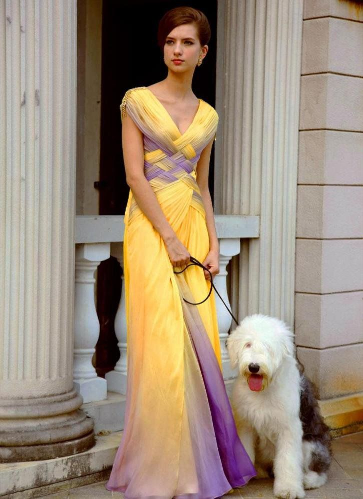 Two Tone Pleated Prom Dress In Yellow And Purple V Neck Chic