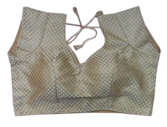 Fertige Golden Saree Bluse Hand verzierte Choli Sari Top Kleid Tunika für Frauen Größe B37 gewebt