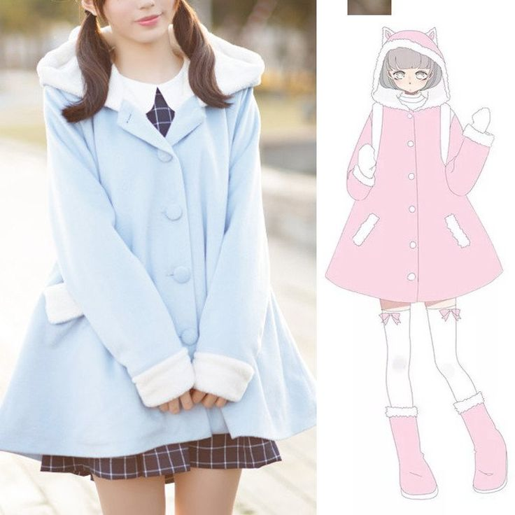 "Cute kawaii students woolen coat SE9348   Harajuku fashion cat hoodie cloak coat SE9349   Coupon code ""cutekawaii"" for 10% off"