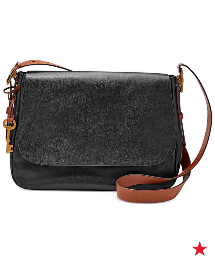 A wide, adjustable buckled strap lends classic good looks and hands-free convenience to this spacious leather crossbody from Fossil. Shop now!