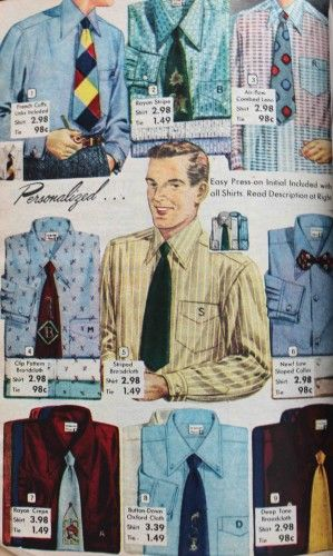 1952 Men's dress shirts gaining color and wider collars The button down collar became very trendy as a neat way to keep collars in place without severe starching or collar pins.  Materials featured more cloth with an open, breathable weave.