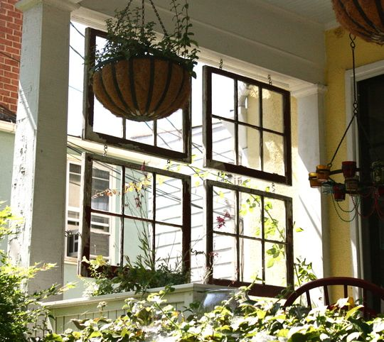 salvaged windows on a porch: Decor, Ideas, Spaces Dividers, Vintage Window, Outdoor, Old Windows, Window Panes, Front Porches, Window Frames