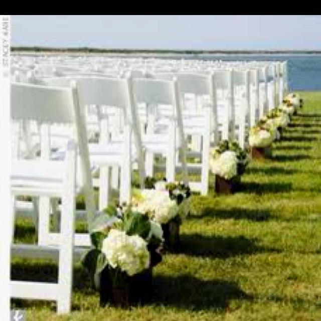 Outside Wedding Ceremony Decorations: Wedding Ceremony With White Folding