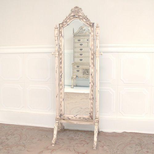 Cheval Mirror – Shabby Ivory