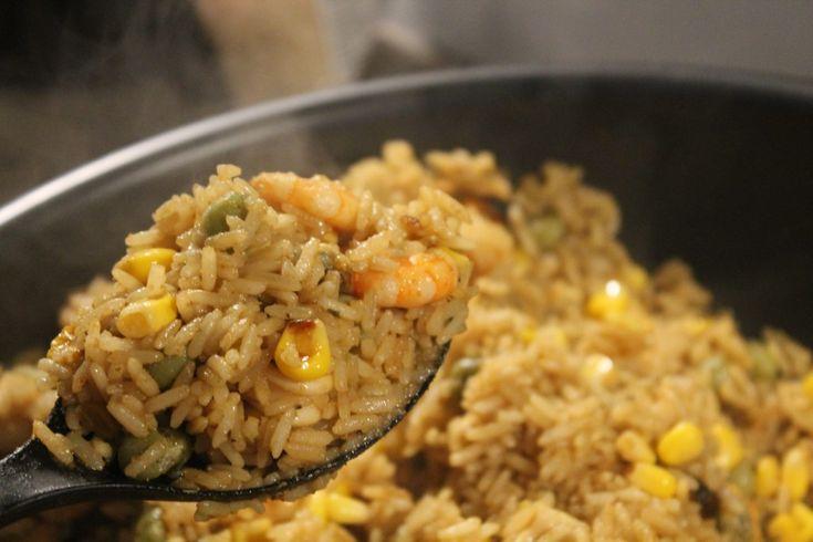 Aromatic sea food paella!