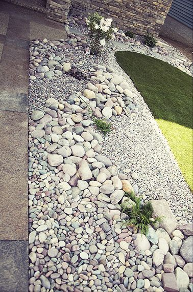 Concrete patio to river stones  to large flat stones edging a gravel path