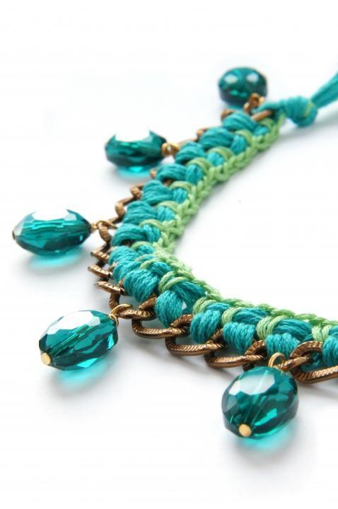 Bracelets & Wristbands - BRAID BRACELET With Bronze Chain And Shiny Pendants http://www.ezebee.com/milanyarns