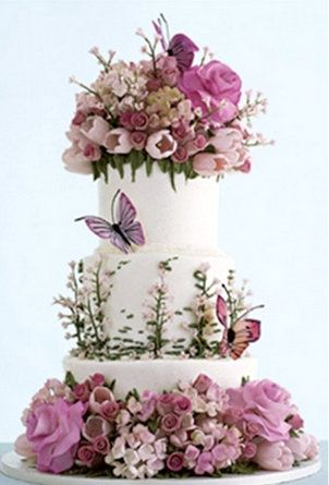 Sylvia Weinstock of New York wedding cake, pink flowers, butterflies, three layers