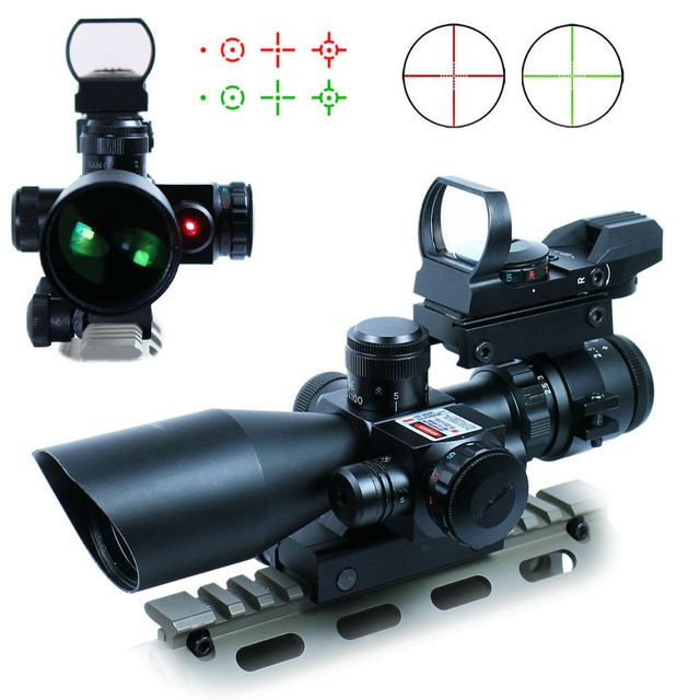 2.5-10X40 High Quality Hunting Tactical Riflescope w/ Red Laser & Holographic Green / Red Dot Sight Airsoft Free Shipping