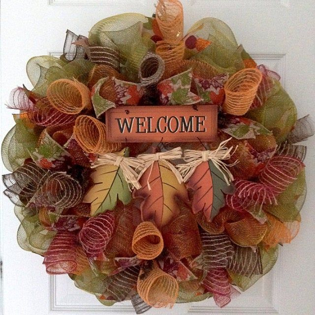 Fall Leaves Welcome Wreath Handmade Deco Mesh