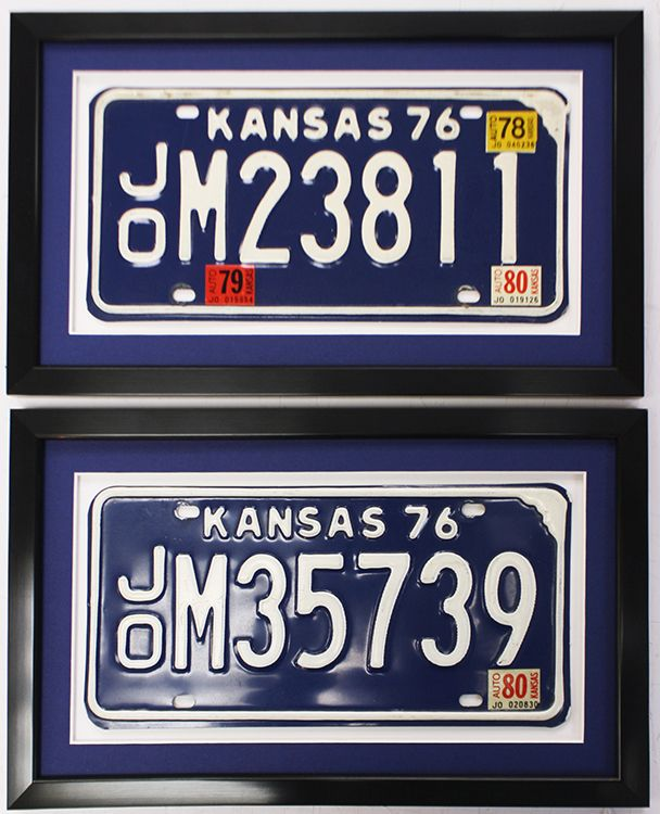 Matching Kansas License Plates In Complimentary Frames Designed