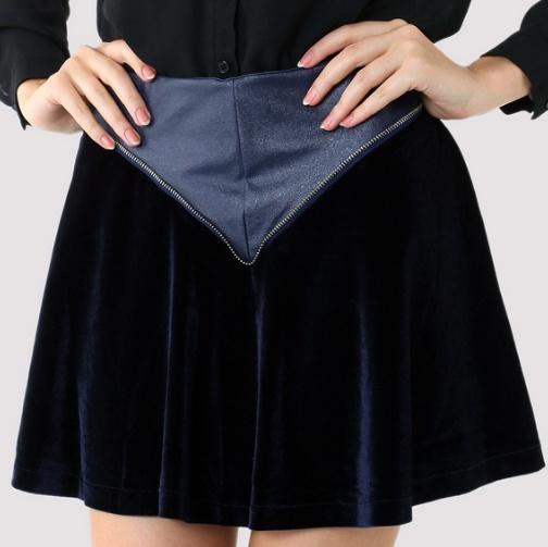 Triangle Faux Leather Velvet Skater Skirt - $38.90