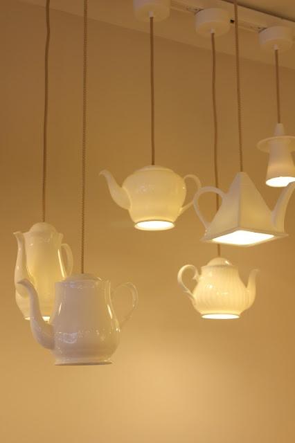 teapot lamp: beige and white porcelain lighting design | lighting . Beleuchtung . luminaires | Design: Inhabitat Blog |