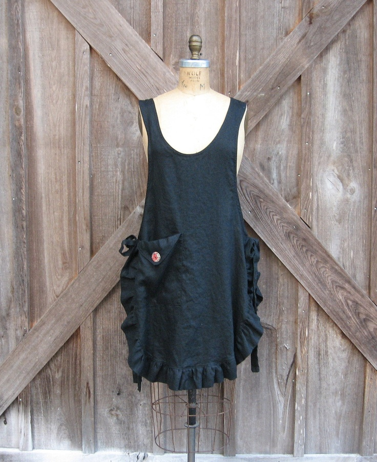 linen jumper pinafore apron dress tunic smock in black