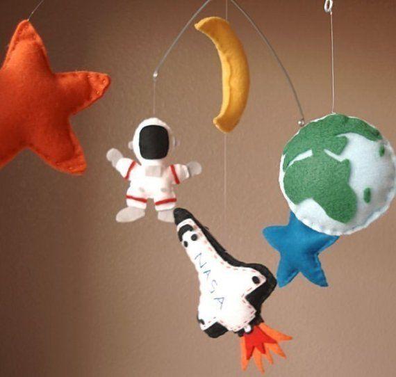Outer Space Adventure Felt Mobile - Space Shuttle, Astronaut, Earth, Moon, Stars
