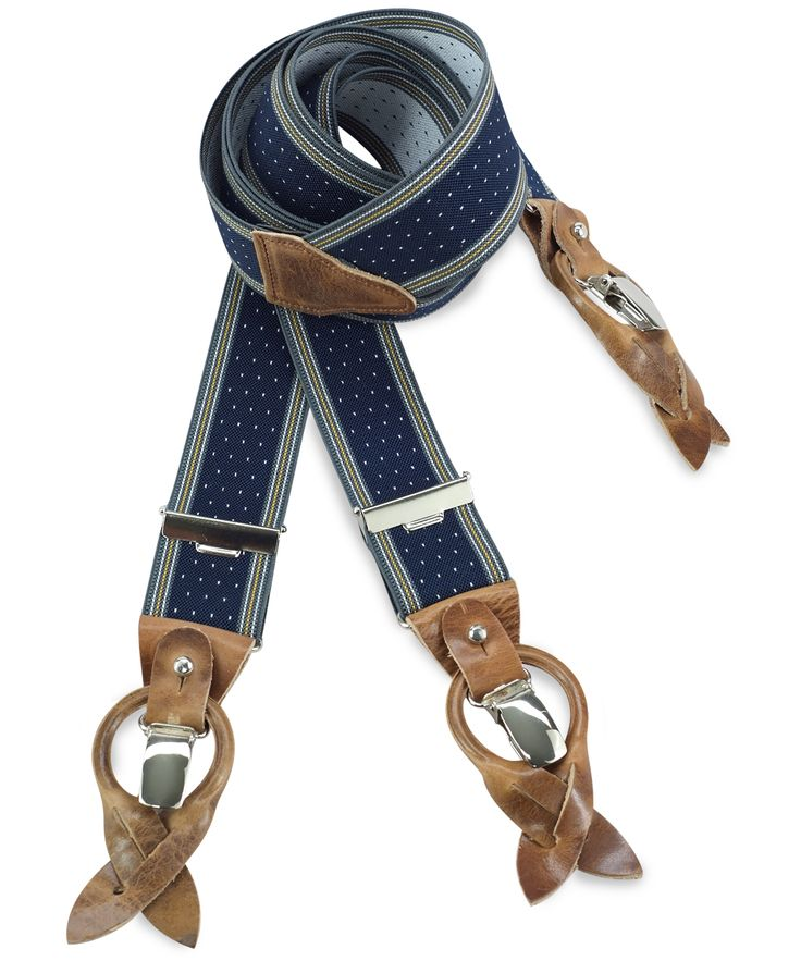 Ladies en gentlemen, graag de aandacht voor deze prachtige bretels! blauw met witte stippen en grijze en gele strepen. Prachtig, uniek en stijlvol. Deze mooie bretels geven je outfit een stijlvolle finishing touch. Met zilverkleurige clips en echt lederen stukjes.
