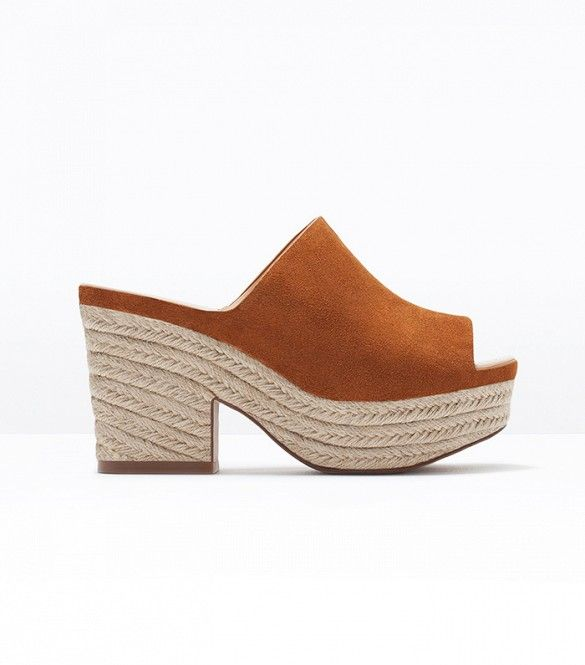 Zara Leather Wedge Espadrilles in Leather