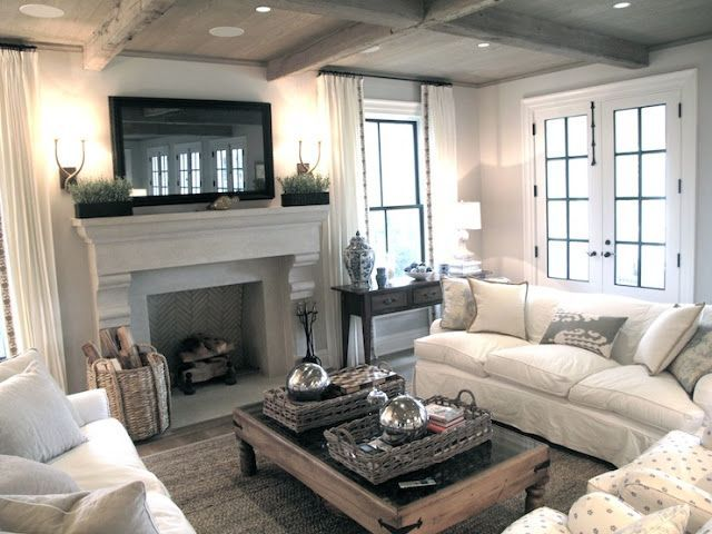 2 Cream Sofas With Chairs And Fireplace In Front With Images Farm House Living Room Family Room Furniture Livingroom Layout