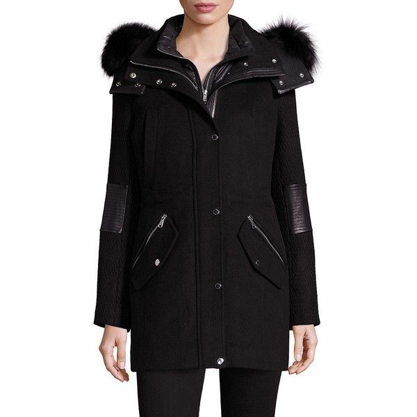 Andrew Marc Rabbit Fur-Trim Parka ($197) ❤ liked on Polyvore featuring outerwear, coats, parka, andrew marc, parka coat, andrew marc parka, zip coat and long sleeve coat