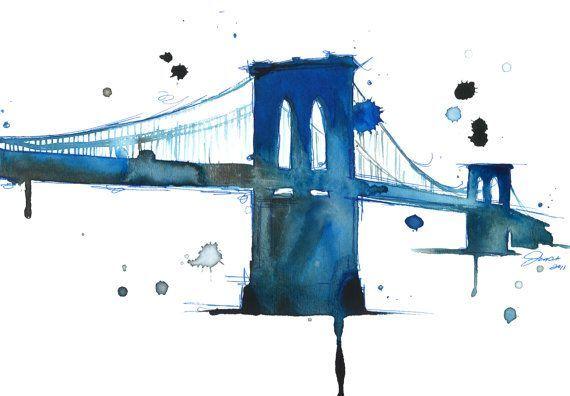 Watercolor Illustration Brooklyn Bridge - Brooklyn Blues print
