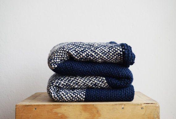 Yoga woven blanket crochet edge Blue Geometric by TexturableDecor