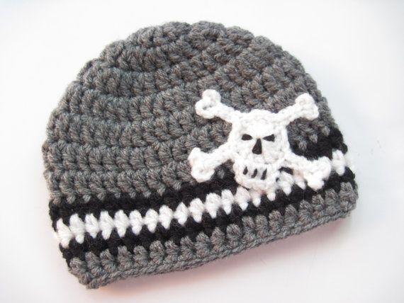 Skull Hat Baby Boy Hat Crochet Baby Hats by KnitCrochetbyMarina, $19.00