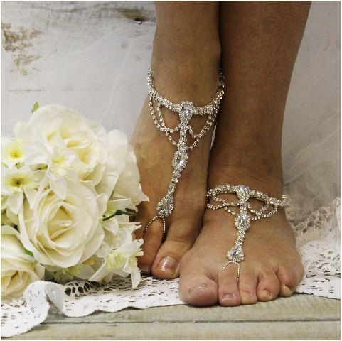Something blue wedding silver and blue crystal rhinestone barefoot sandals! This barefoot sandal jewelry is adjustable around your ankle.