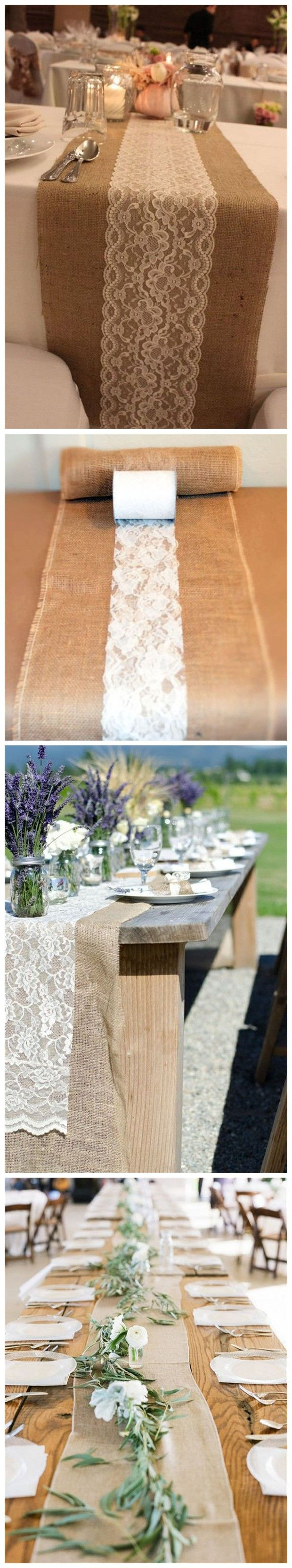 Diy Wedding Ideas » 22 Rustic Burlap Wedding Table Runner Ideas You Will Love » ❤️ See more: http://www.weddinginclude.com/2017/03/rustic-burlap-wedding-table-runner-ideas-you-will-love/