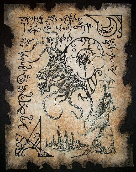 Cthulhu Demon Summoner Necronomicon Fragment occult magick outsider dark fantasy art