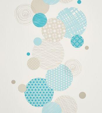 Papel pintado círculos de colores turquesa gris y espirales - 2019824