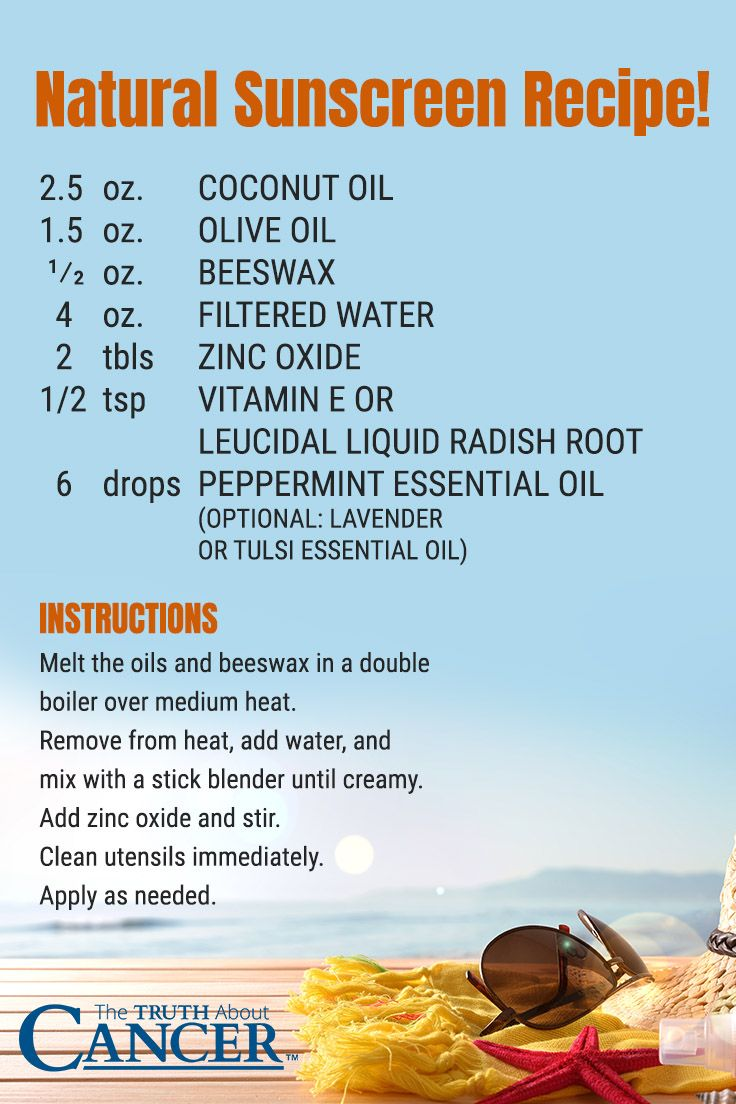 Did you know that most skin cancers are a result of using toxic sunscreens rather than the sun itself? Here is a great homemade natural sunscreen recipe to keep you safe! Ingredients include: Coconut oil, olive oil, beeswax, filtered water, zinc oxide, vitamin e and essential oil. Click through to read on about harmful ingredients found in sunscreen! Please re-pin. Together we'll empower the world with life-saving knowledge!