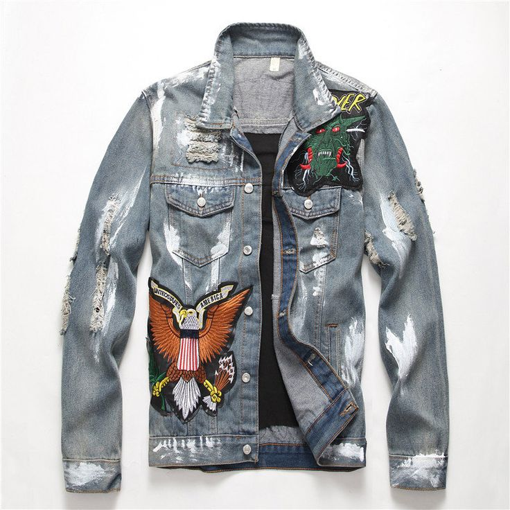 2019 New Men's Slim American Flag Embroidered Ripped Jean Jacket Trendy Letters Birds Distressed Denim Top Coat Outerwear Ripped Denim, Denim Top, Distressed Denim, Patched Denim, Denim Jeans, Denim Jacket Patches, Denim Jacket Men, Men's Jacket, Denim Jackets