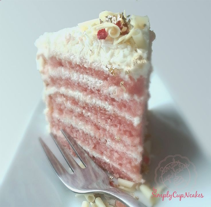 Pink almond cake with coconut