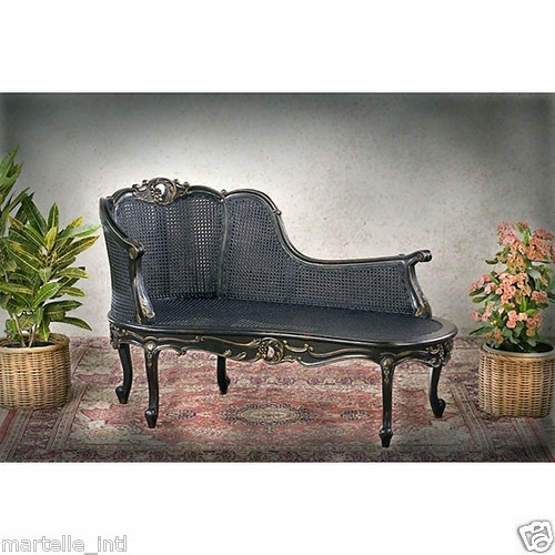 Double cane antique black mahogany chaise lounge hand for Antique chaise lounge ebay