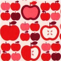 Tela oxford blanca manzanas violeta rojo Cosmo Japón fruta - Tela con dibujos de comida - Textiles