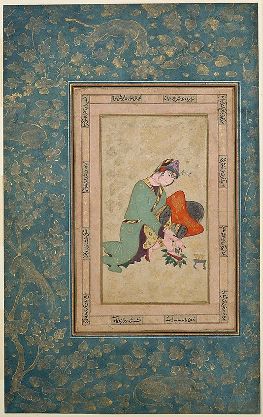 Woman Applying Henna Object Name: Album leaf Date: late 16th century Geography: Iran