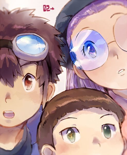 Digimon Adventure 02 - The New DigiDestined: Davis (Daisuke) Motomiya with Crest of Courage in the eye, Yolei (Miyako) Inoue with Crest of Love in the eye and Cody (Iori) Hida with Crest of Knowledge in The eye