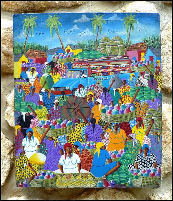 Haitian Market Scene  - Haitian Art - Hand Painted Canvas Painting by TropicAccents, $39.95