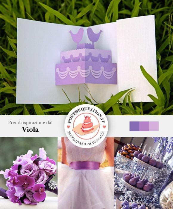 Lasciati ispirare dalle tonalità del viola per il tuo matrimonio. Dalle partecipazioni di matrimonio pop-up all'abito da sposa, scegli il colore come tema delle tue nozze. #wedding #weddinginvitations #violet #popup