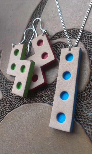 Week 21 - Tetris earrings and pendant - Nude leather with red, green and blue paint