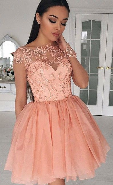 Coral Puffy Homecoming Dresses Beading Lace Appliques Capped Sleeves Graduation Dress