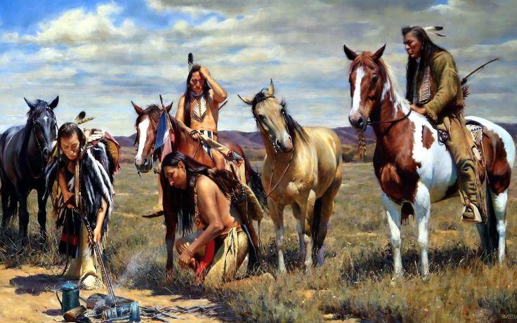 Künstlerisch Amerikanischer Ureinwohner  Indians Pferd Mustang Feder Lamp Painting Wallpaper