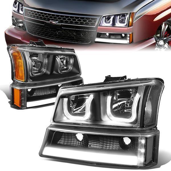 D Motoring 03 06 Chevy Chevrolet Avalanche Silverado 1500 2500 3500 Headlights Dual U Halo Black Housing Amber Corner Chevy Chevrolet Chevrolet Chevy
