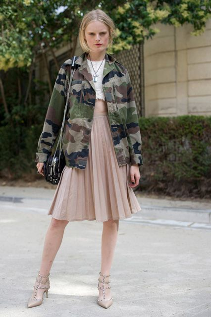Street Style: Hanne Gaby Odiele Mixes Camouflage With Lady-Like Sophistication